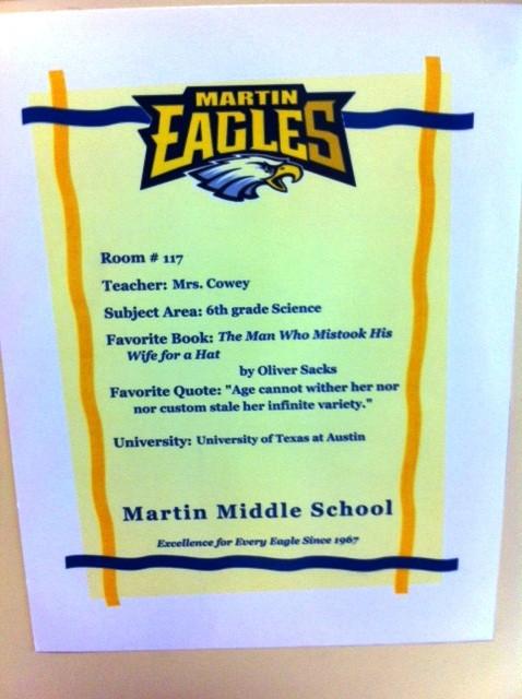 Martin Teacher Door Sign