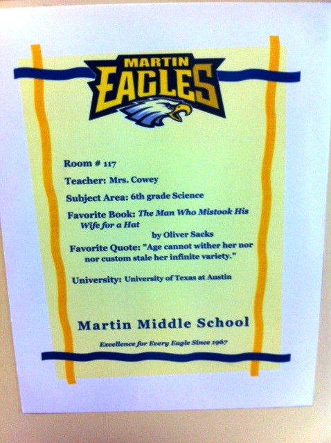 Martin Teacher Door Sign